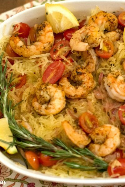Sautéed shrimp with rosemary tomato combined with spaghetti squash. A tasty easy one-pan meal.