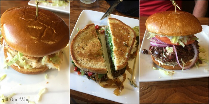 Collage with 3 different sandwiches. Portabella Mushroom Pizza Hamburgers - the reason we decided to make them this easy was these huge sandwiches.