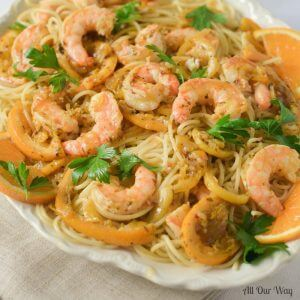 One Pan Orange Lemon Shrimp A Citrusy Touch of Capri is a light yet tasty seafood pasta dish. Try it and it will become a favorite.