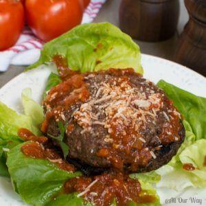 Portabella Mushroom Pizza Hamburgers with tangy tomato sauce.