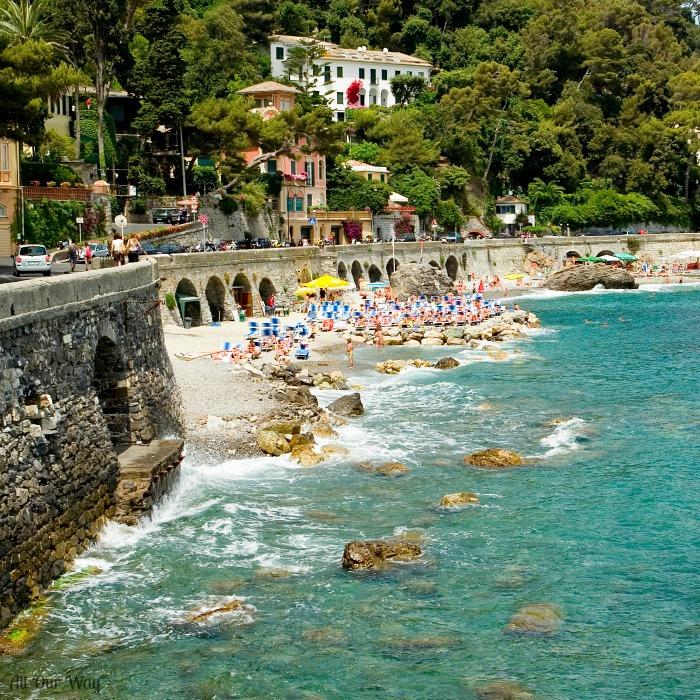Genoa Province, Liguria, Italy, Italian Riviera, people on the beach.