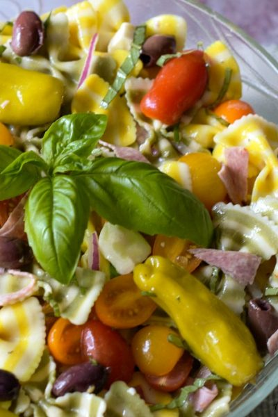 Lemon Basil Farfalle Salad an Italian Pasta Salad celebrating summer tastes.