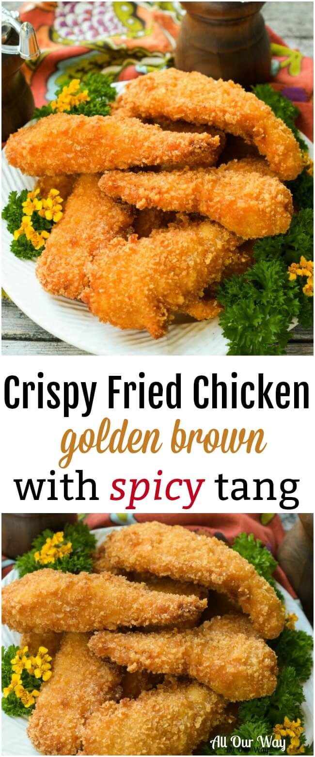 Crispy Fried Chicken cooks a golden brown while the meat inside is moist and tender with a spicy tang. #fried _chicken, #crispy_chicken, #chicken_tenders,#panko_crust,#main_dish,#poultry,#chicken_recipe,#easy_recipe,#Sunday_dinner
