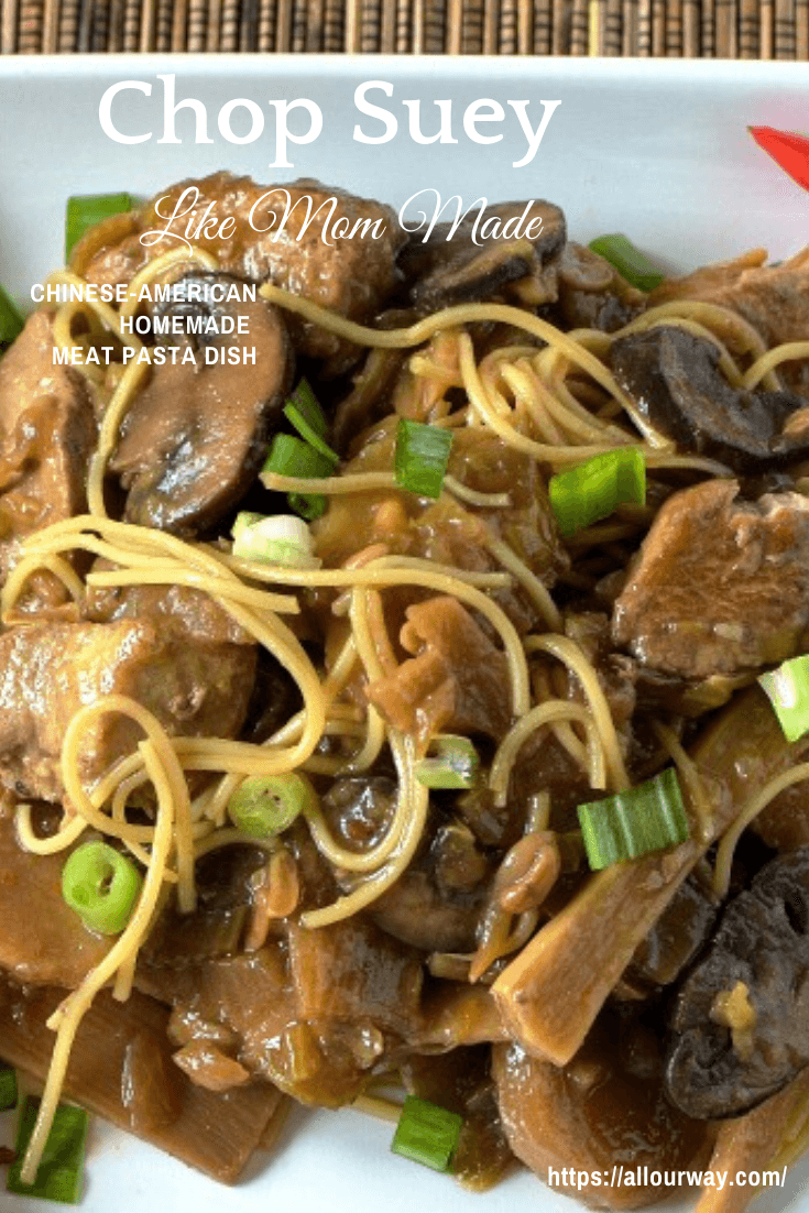 A delicious Chinese-American recipe that utilizes whichever meat you prefer along with bean sprouts, bamboo shoots, water chestnuts, onions, and celery. Add more vegetables if you wish. #chopsuey, #Chinese-Americandish, #Chinesestew, #Chinesemixedvegetabledish, #Chinesesoup, #Chinesemaindish,