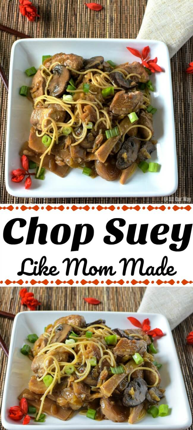 Collage of Chop Suey a Chinese-American dish that is versatile and budget-friendly. A tasty stew that was very popular in the mid-20th century. It's comfort food from the past.