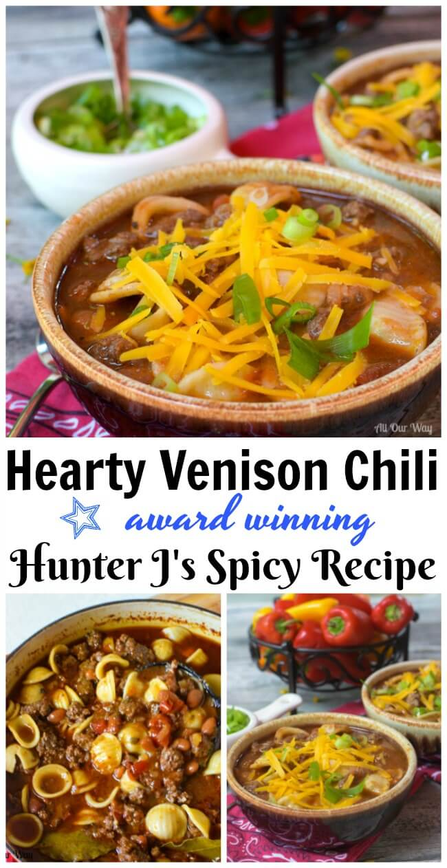 Hearty Venison Chili is a spicy flavorful stew that is slow-cooked to draw out all of the flavors.