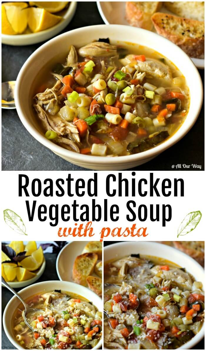 Bowl of Roasted Chicken Vegetable soup with Pasta. Lemon wedges and bread slices on table.