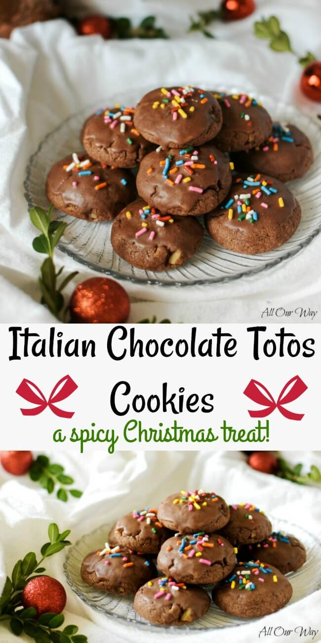 Italian Chocolate Totos cookies are a Spicy Christmas cookie recipe that is studded with walnuts and chocolate chips. Flavored with orange and glazed with chocolate and topped with colorful sprinkles.#Christmas_cookies, #Totos, #Italian_chocolate_cookies, #spice_cookies, #meatball_cookies, #allourway