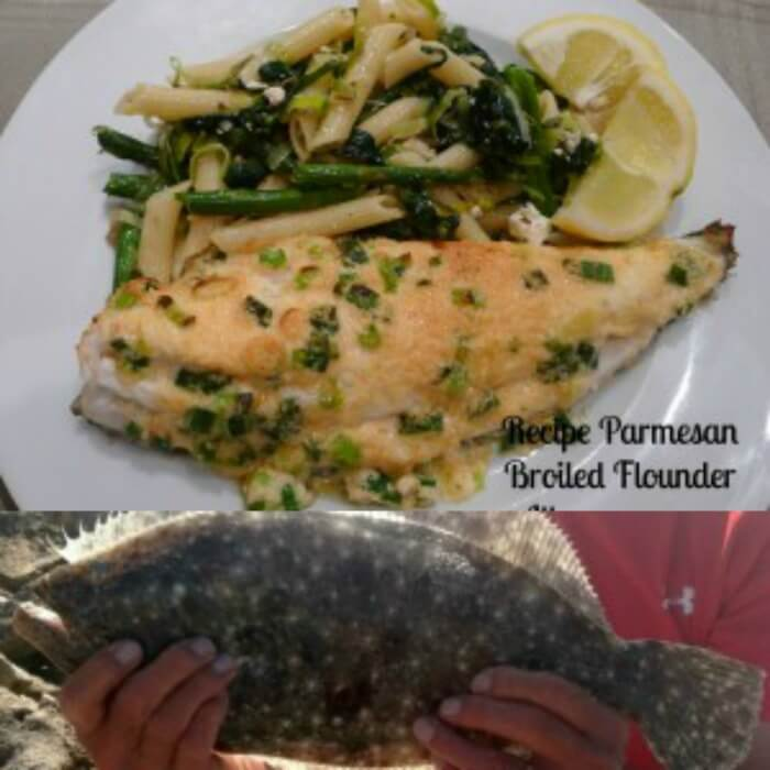 Flounder on Plate and green beans lower photo is flounder