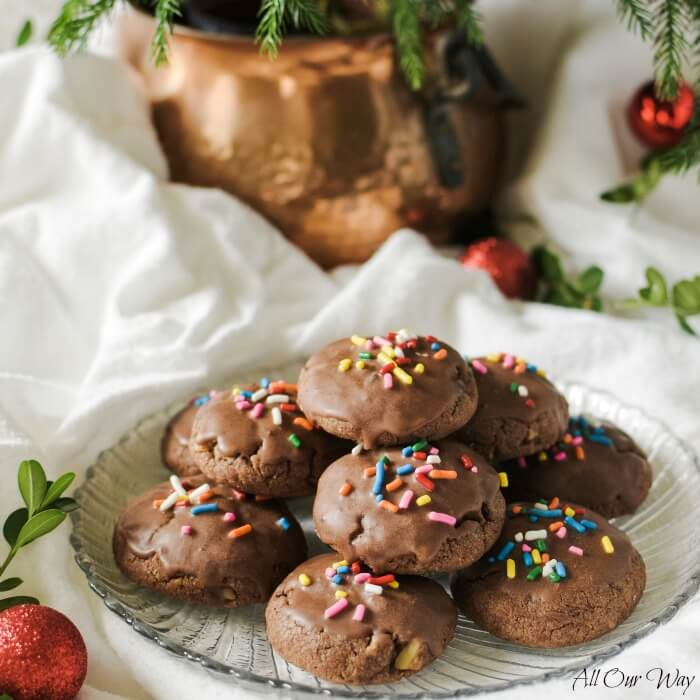 Italian Chocolate Toto cookies are spicy holiday treats filled with walnuts, mini-chocolate chips, spices, and flavored with orange. #cookies, #totos, #Chocolate_cookies, #Italian_Christmas_cookies, #Chocolate_Holiday_coookie, ##allourway