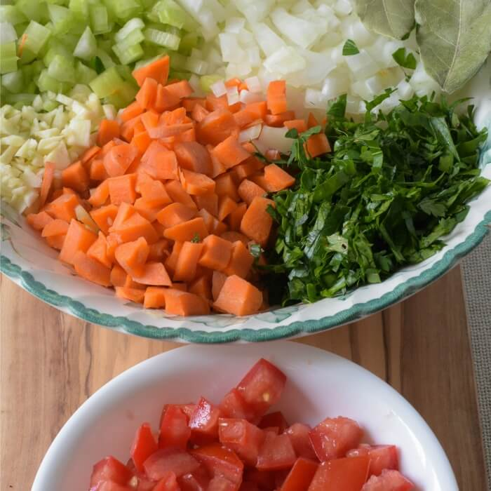 vegetables in bowls for the Ossobuco alla Milanese