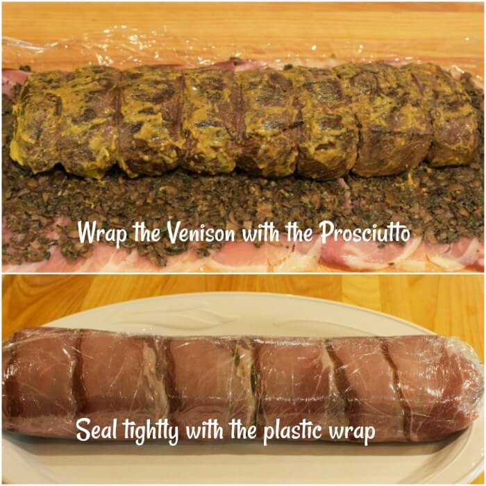 Italian Venison Wellington Instructions 7-8 wrapping the #venison_tenderloin# in #prosciutto, #duxelles, #puff_pastry, #plastic_wrap, #allourway