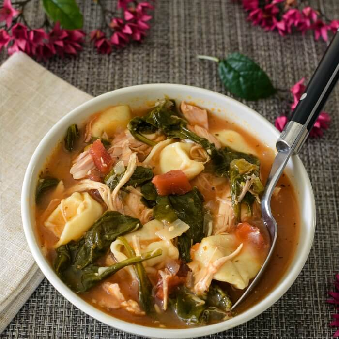 Chicken Spinach Tortellini Soup with a Southwestern Flair