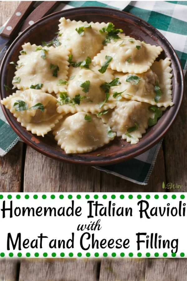Homemade Italian Ravioli with meat and cheese filling is easy to make at home and we take you step by step from making the pasta all the way to the filling. They freeze nicely so you always have homemade ravioli on hand. #ravioli, #homemaderavioli, #meatandcheesefilling, #fillingfor_ravioli, #homemadepastadough, #raviolidough, #Howtomakeravioli, #freezingravioli, #meatravioli, #allourway