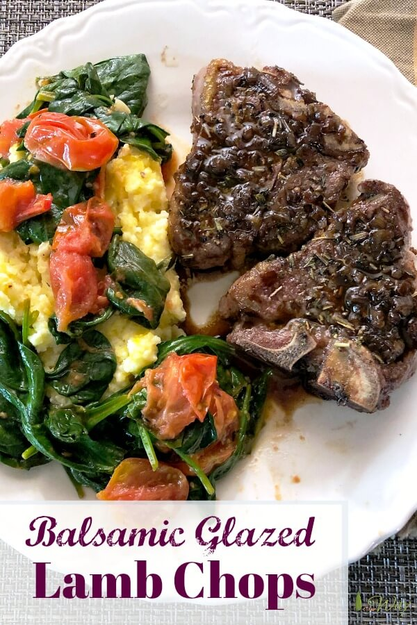 Balsamic Glazed Lamb Chops is a quick and easy recipe for two people. Make it for a special occasion or date night in. The herbs flavor the chops and the reduced balsamic glaze adds to the fantastic flavor. #lambchops, #dinnerfortwo, #specialoccasiondinner, #balsamicglaze, #howtocooklambchops, #datenightin, #herbedlamb, #allourway