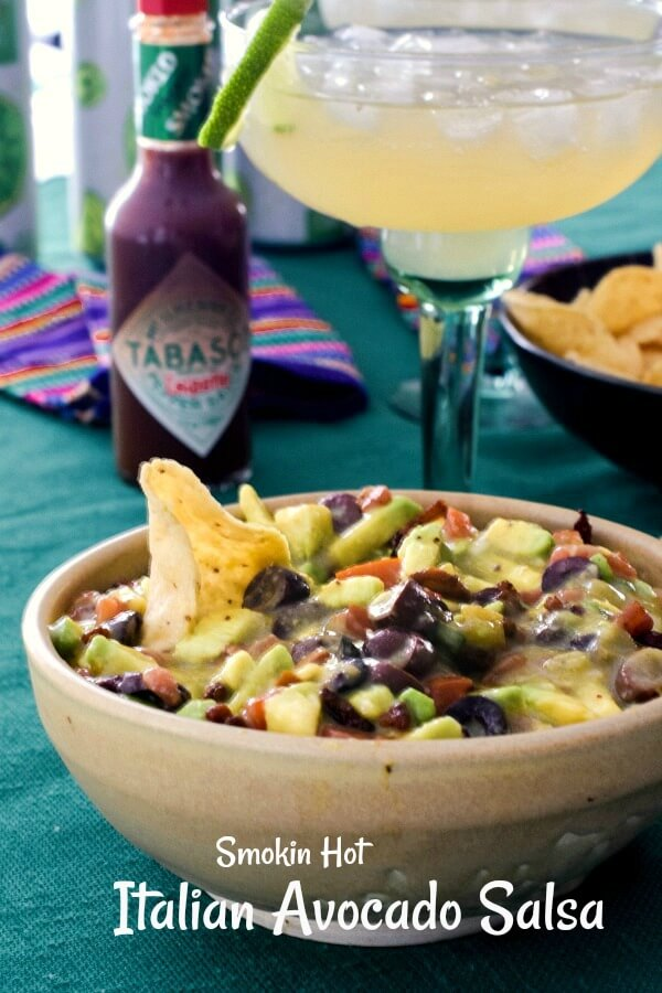 The Big Game is coming up and we've made Smokin Hot Italian Avocado Salsa using Avocados from Mexico and TABASCO® Chipotle Sauce. The beverage we'll share will be fruity and fizzy Lime-A-Ritas. A great indoor tailgating party! #Ad, #SavorWinningFlavors, #AvocadosFromMexico, #TABASCO® Brand, #RITAS, #BigGame, #tailgate