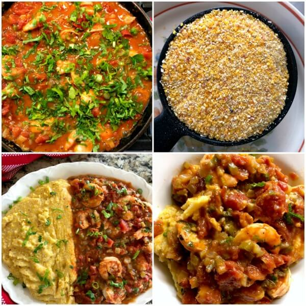 The fourth collage of steps to making Spicy Shrimp Creole with rustic Italian polenta.