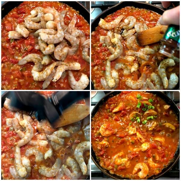 A collage of the third set of steps for making Spicy Shrimp Cuisine.