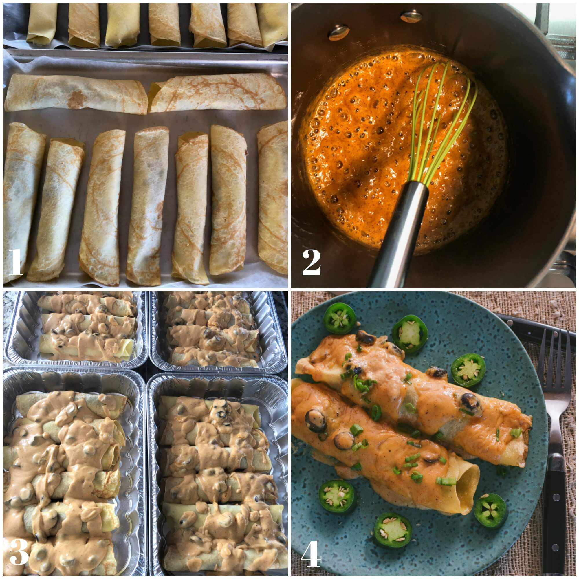 Collage of the second set of step for making Spicy Beef Enchiladas Recipe.