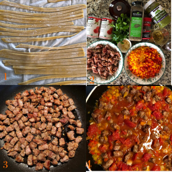 Collage of 4 process shots of making pappardelle pasta in sausage pepper sauce.