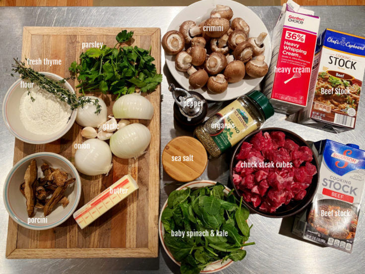 All the ingredients for the mushroom beef soup