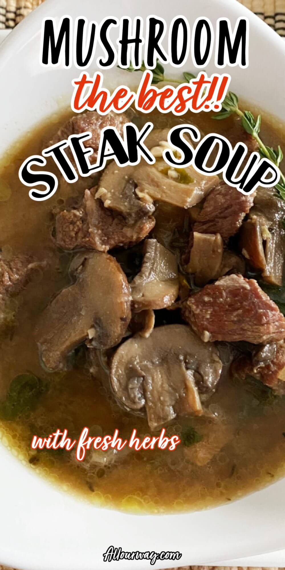 Juicy tender bites of beef in a mushroom infused broth makes up a hearty soup that reminds you of a rich stew in soup form. This soup is much lighter than a stew with the baby spinach and kale instead of the heavier root vegetables. This soup is a complete meal in itself.#beefsoup, #steaksoup, #mushroomsteaksoup, #heartysoup, #wildmushroomsoup, #chucksteak, #bestbeefforsoupstew