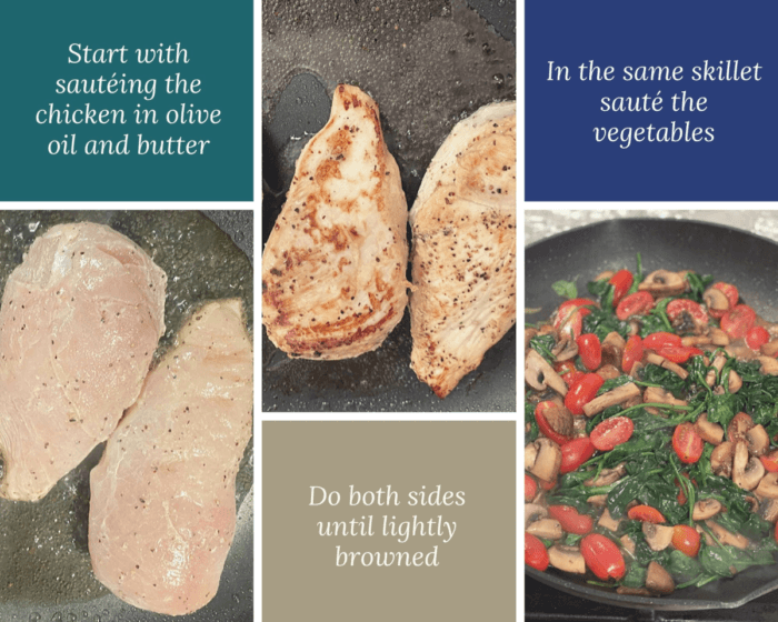 Collage with the steps to making Chicken florentine.