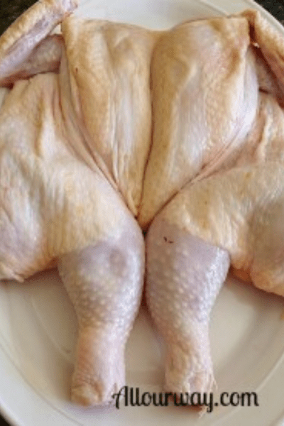 Spatchcocked chicken on white plate, butterfly chicken
