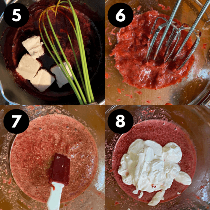 Second set of collage directions for strawberry mousse dessert