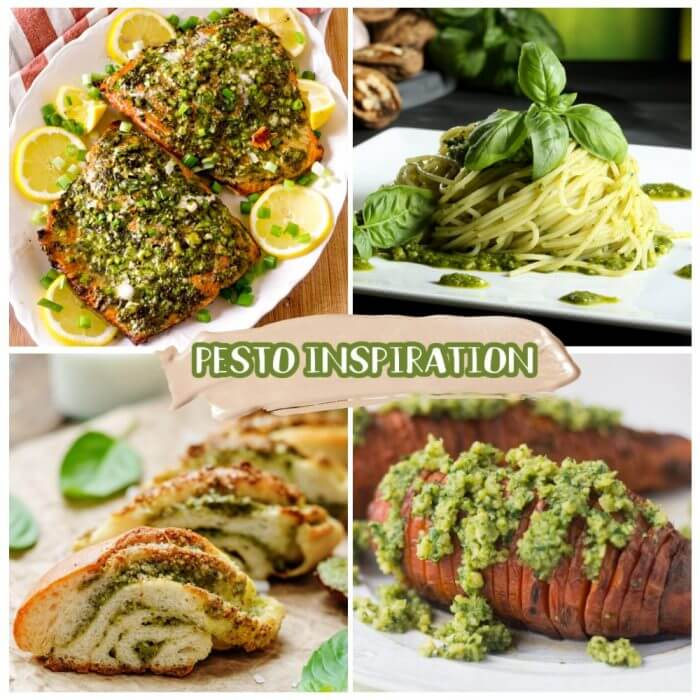 4 picture collage featuring pesto on salmon, pasta, in bread, and sweet potatoes.