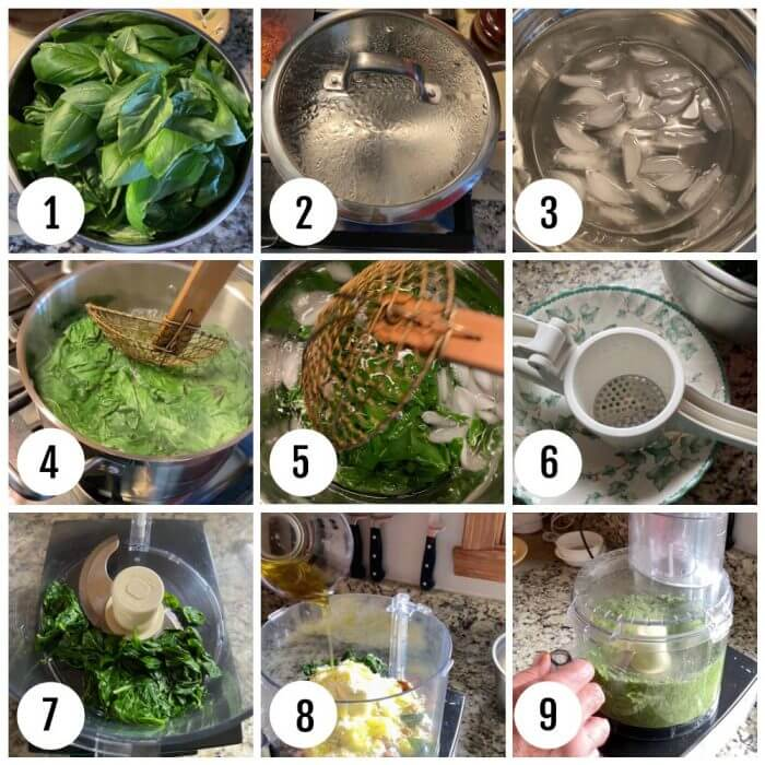 Basil Pesto directions collage showing the first nine steps.