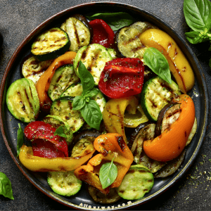 Grilled Vegetables with zucchini, colored peppers.