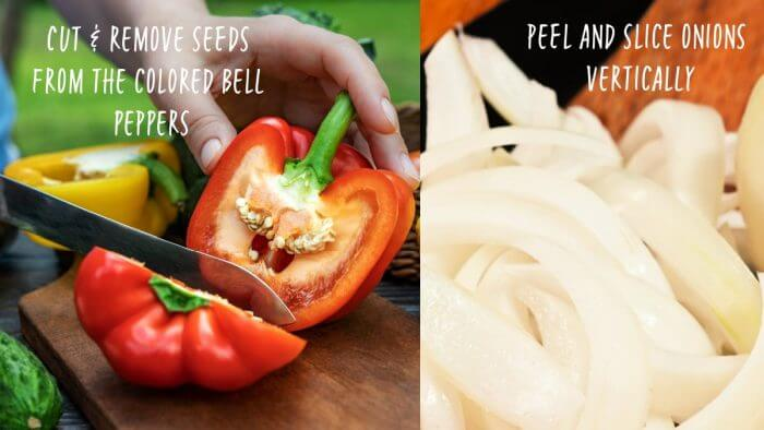 Collage of colored bell peppers being sliced and a white onion sliced.