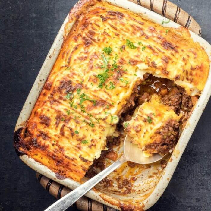 Shepherd's Pie with a spoon full of the casserole.