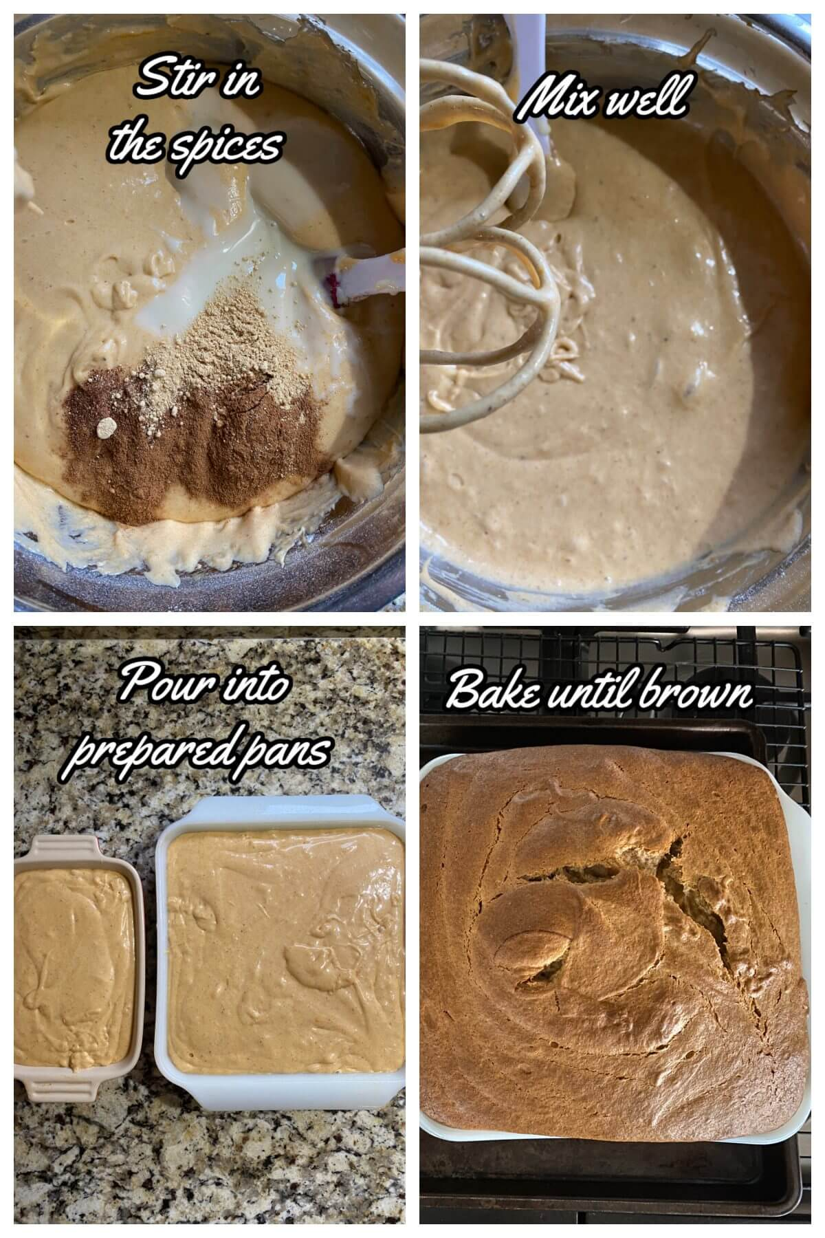 Direction collage for Persimmon Pudding steps 5-8
