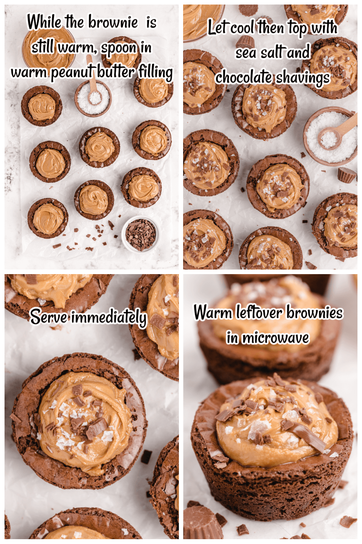 The last four steps in making the Brownie and peanut butter recipe.