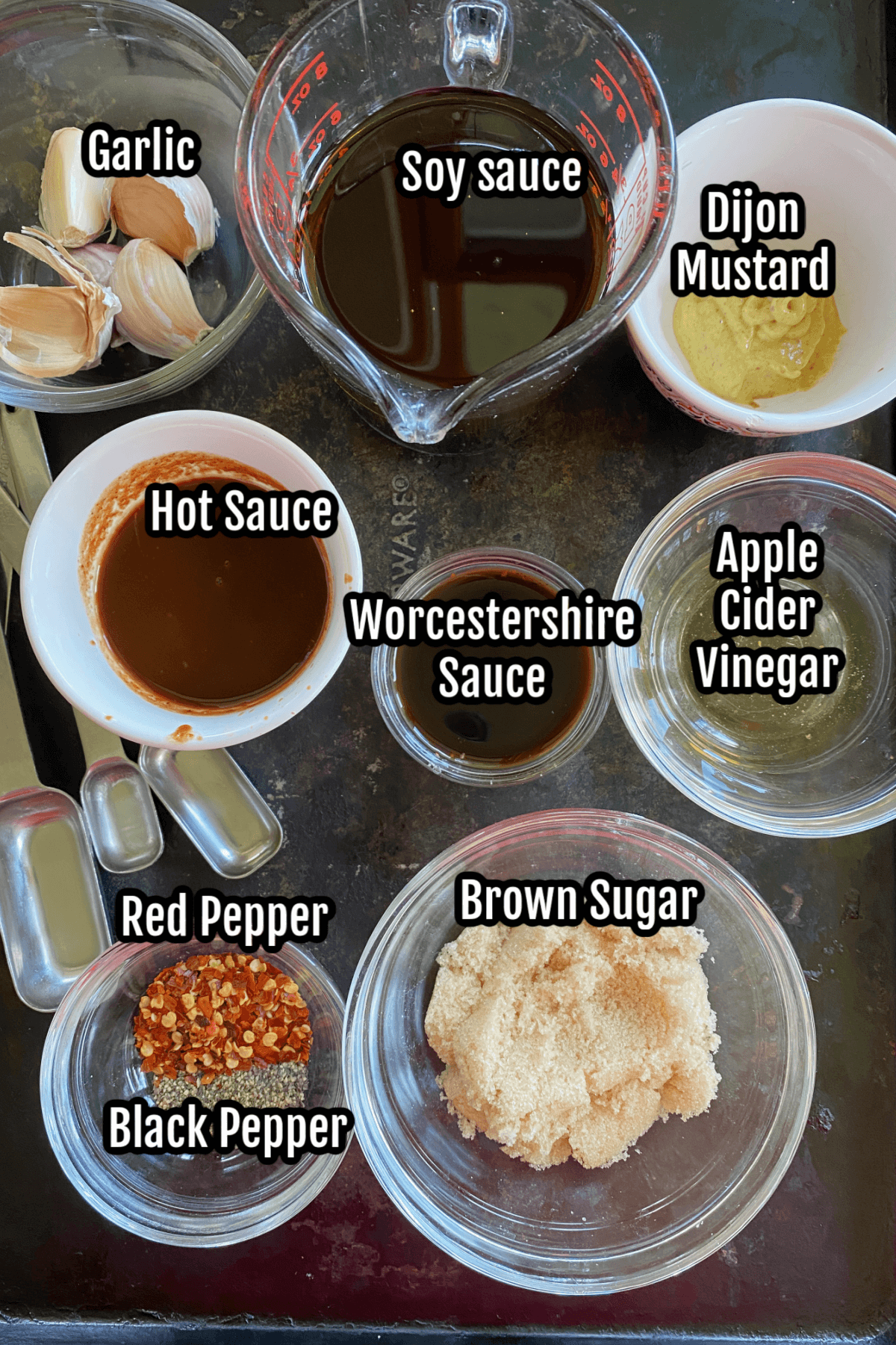 Ingredients for the all-purpose meat marinade.