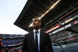 APRIL 11, 2009 - Football : Manager Josep Guardiola of FC Barcelona during the La Liga match between Barcelona and Recreativo Huelva at the Camp Nou Stadium on April 11, 2009 in Barcelona, Spain. Barcelona won the match 2-0. (Photo by Tsutomu Takasu)