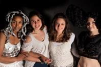 Designer Bruna Bellettati with her models and make up artist
