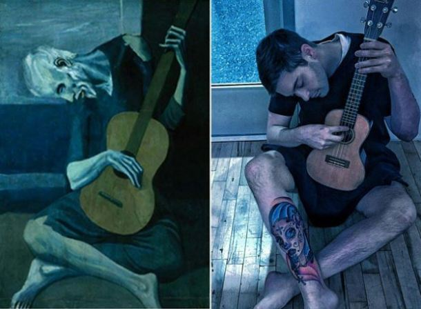 The Old Guitarist by Pablo Picasso, 1903. Image: @foolsdoart on Instagram