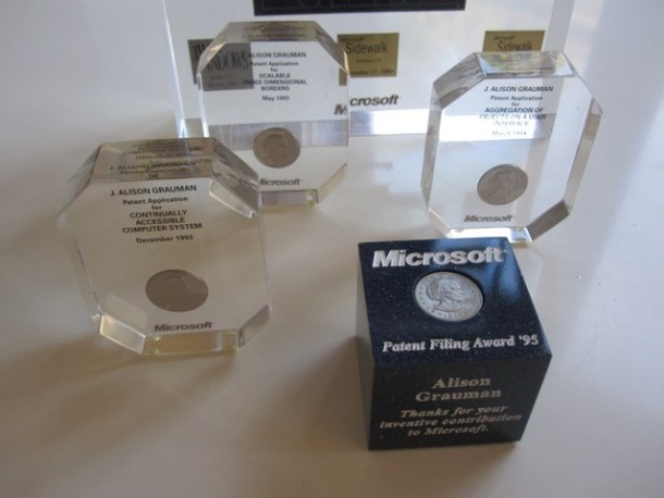 Old Microsoft Patent awards. Wow, you mean I get a whole dollar for selling you my patient idea?