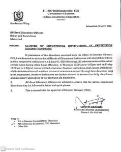 Closure of Educational Institutions in Prevention against Pandemic   Government of Pakistan Federal Directorate of Education   May 29, 2020 - allpaknotifications.com