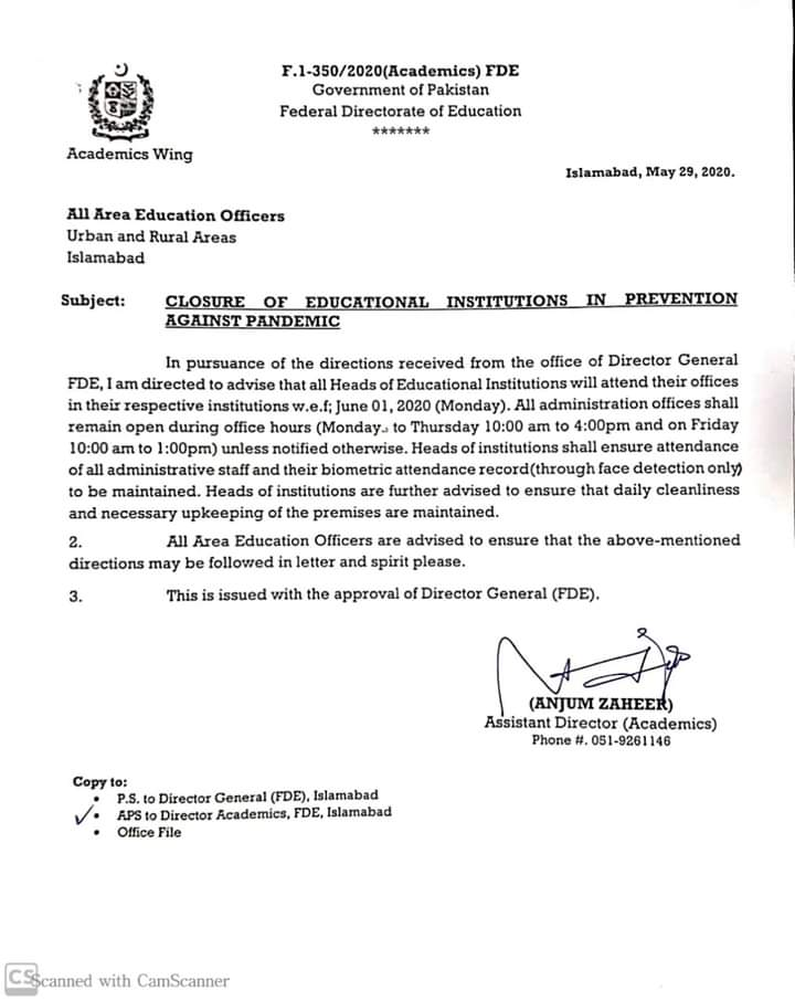 Closure of Educational Institutions in Prevention against Pandemic | Government of Pakistan Federal Directorate of Education | May 29, 2020 - allpaknotifications.com