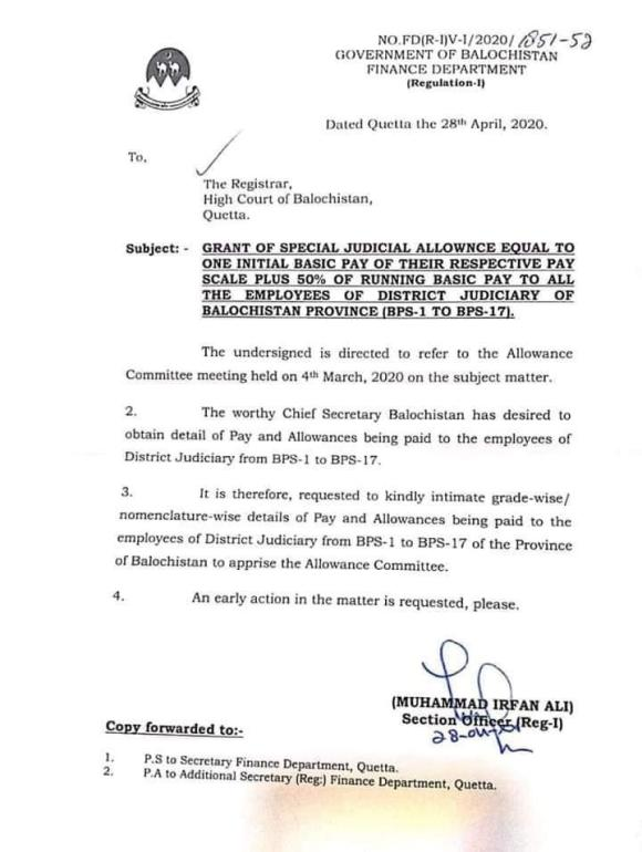 Grant of Special Judicial Allowance Equal to One Initial Basic Pay of Their Respective Scale Plus 50% of Running Basic Pay to All The Employees of District Judiciary of Balochistan Province (BPS-1 to BPS-17) | April 28, 2020 - allpaknotifications.com