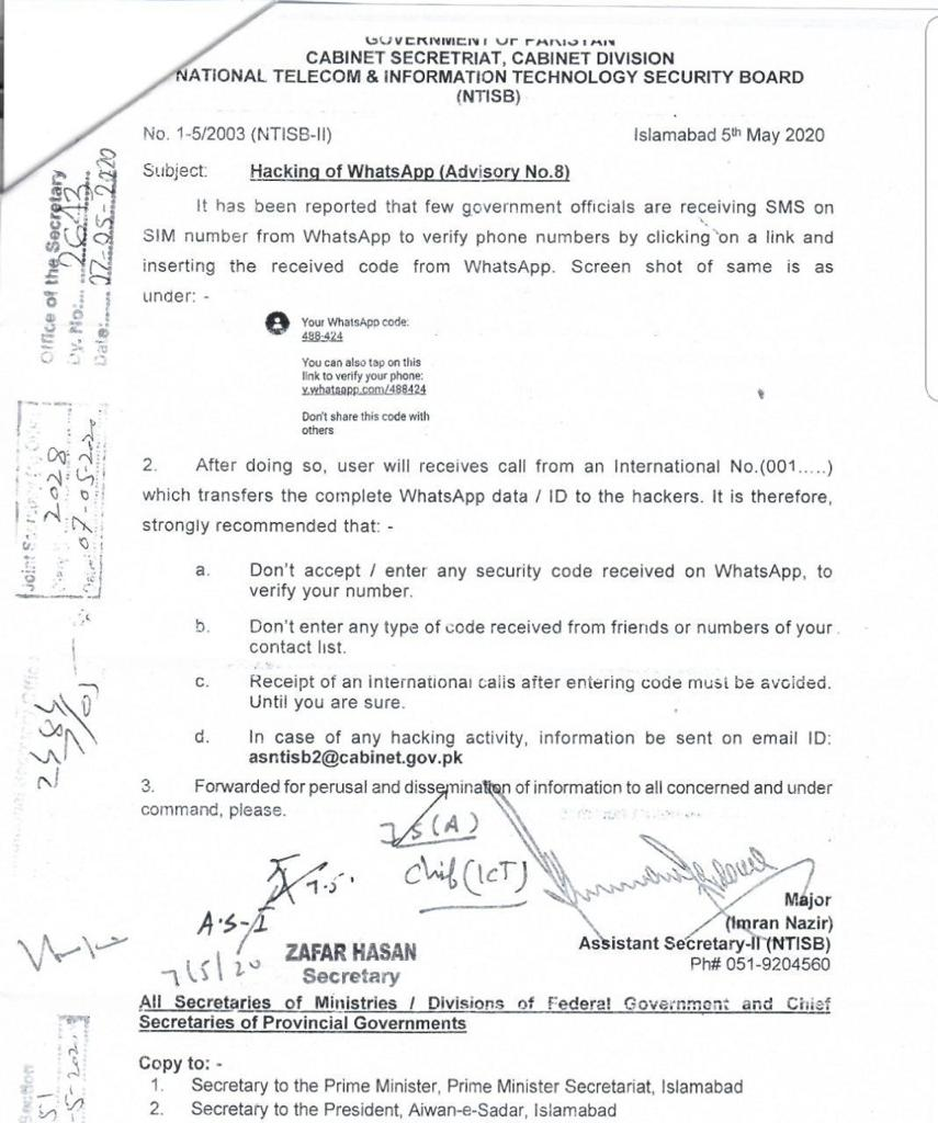 Hacking of WhatsApp (Advisory No. 8) | Government of Pakistan Cabinet Secretariat, Cabinet Division National Telecom & Information Technology Security Board (NTISB) | May 5th, 2020 - allpaknotfications.com