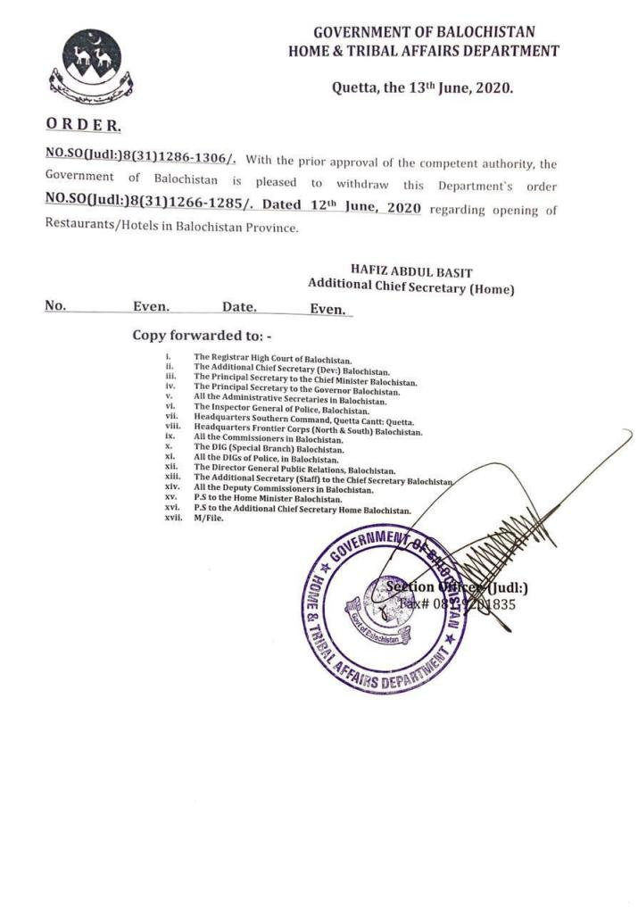 Order | Withdrawal of Notification Regarding Opening of Restaurants / Hotels | Government of Balochistan Home & Tribal Affairs Department | June 13, 2020 - allpaknotifications.com