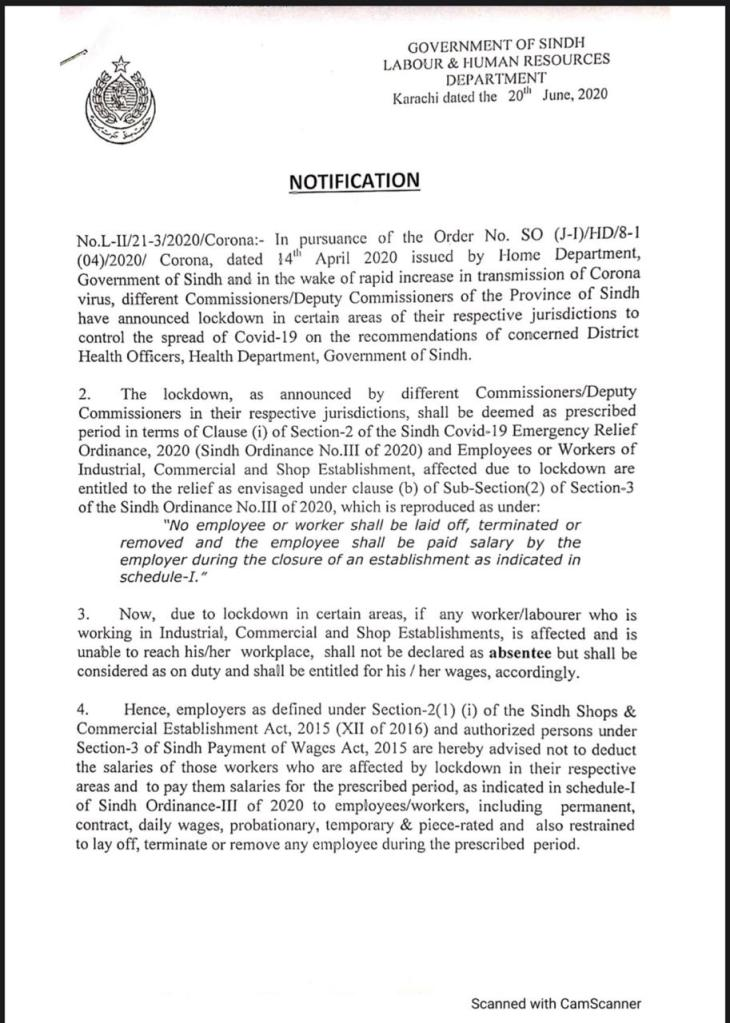 Notification | No Employee or Worker shall be Laid Off, Terminated, and Removed and the Employee shall be Paid Salary by the Employer During the Closure of an Establishment as Indicated in Schedule-I | Government of Sindh Labour & Human Resources Department | June 20, 2020 - allpaknotifications.com