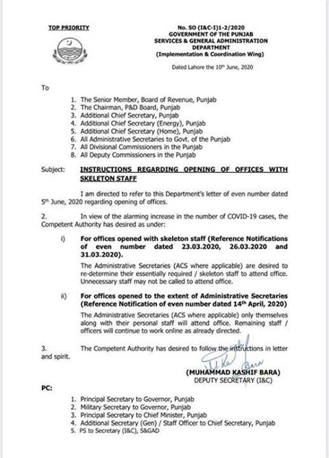 Instructions Regarding the Opening of Offices with Skeleton Staff | Government of the Punjab Services & General Administration Department (Implementation & Coordination Wing) | June 10, 2020 - allpaknotificatioins.com