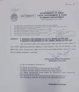 Request of Opening of Cattle Mandi and Dry Animal Mandi as Per SOP | Government of Sindh Local Government & Town Planning Department | June 12, 2020 - allpaknotifications.com