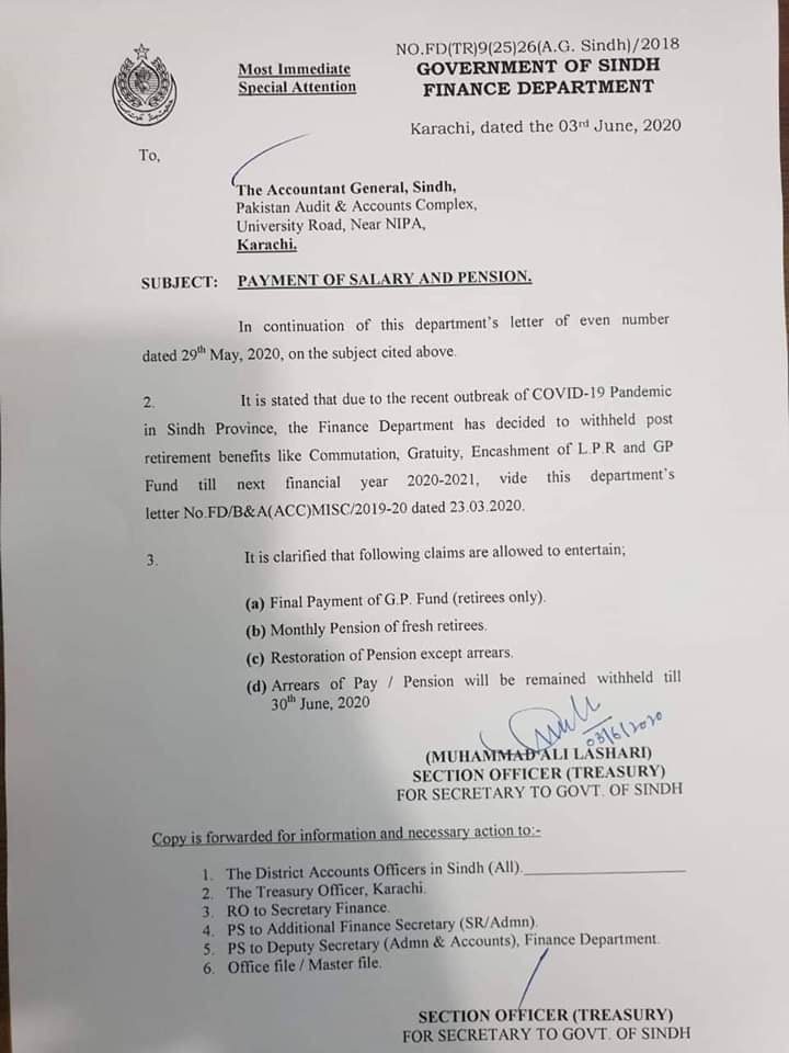 Payment of Salary and Pension | Government of Sindh Finance Department | June 03, 2020 - allpaknotifications.com